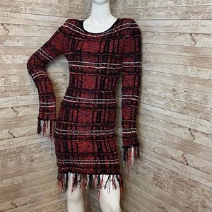Balmain Red Tweed Frayed Fringe Cocktail Dress S/M